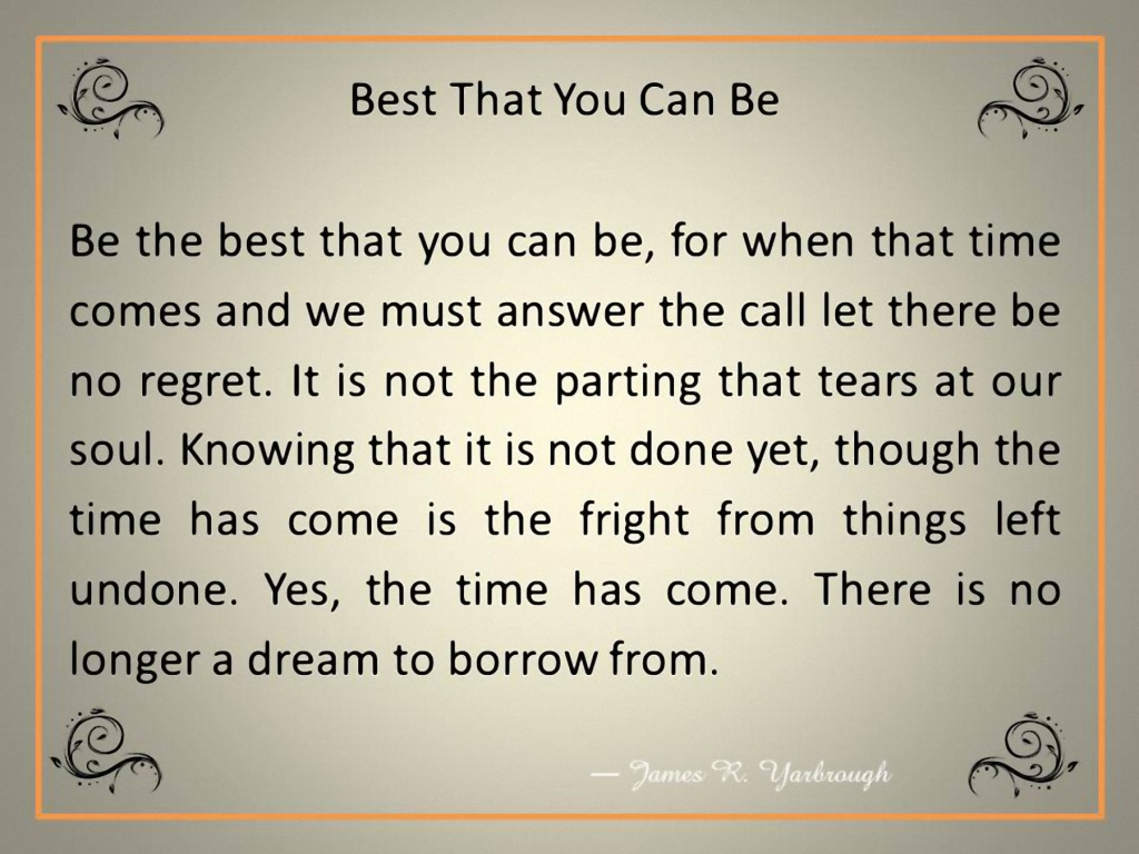 Best That You Can Be