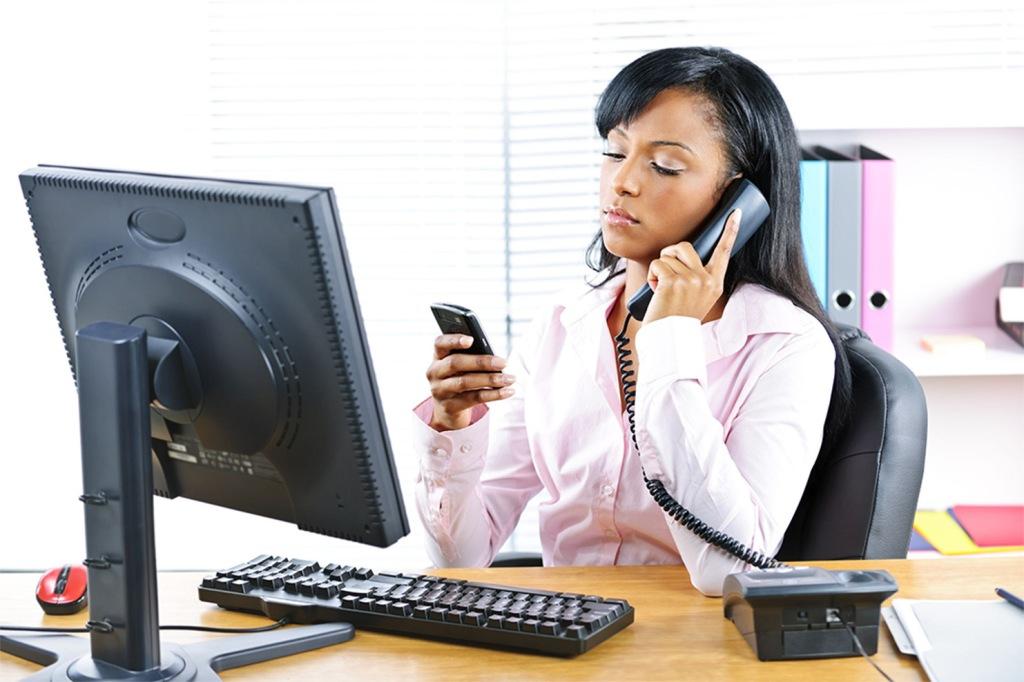 Black Young Woman Multitasking