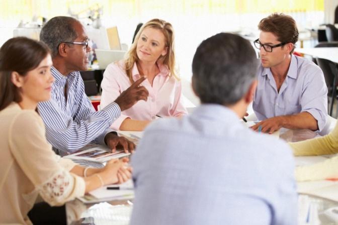 White Girl Flirting in Business Meeting